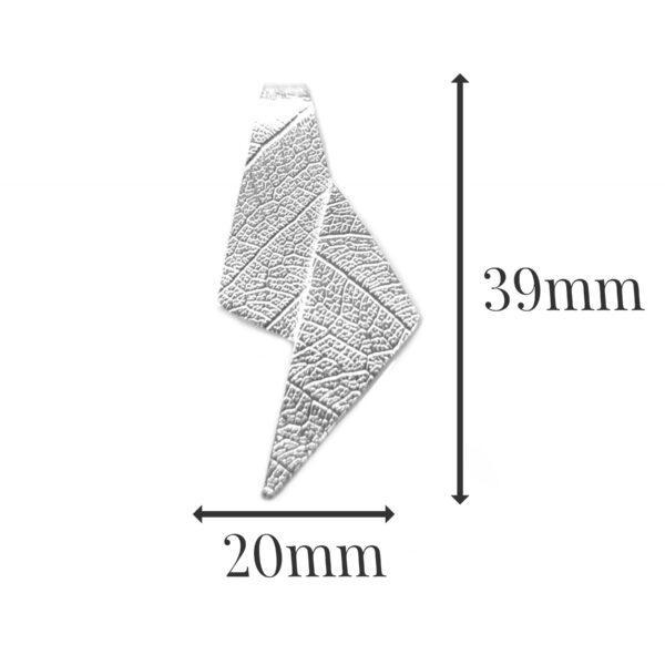 LP538 - silver leaf pendant sizes