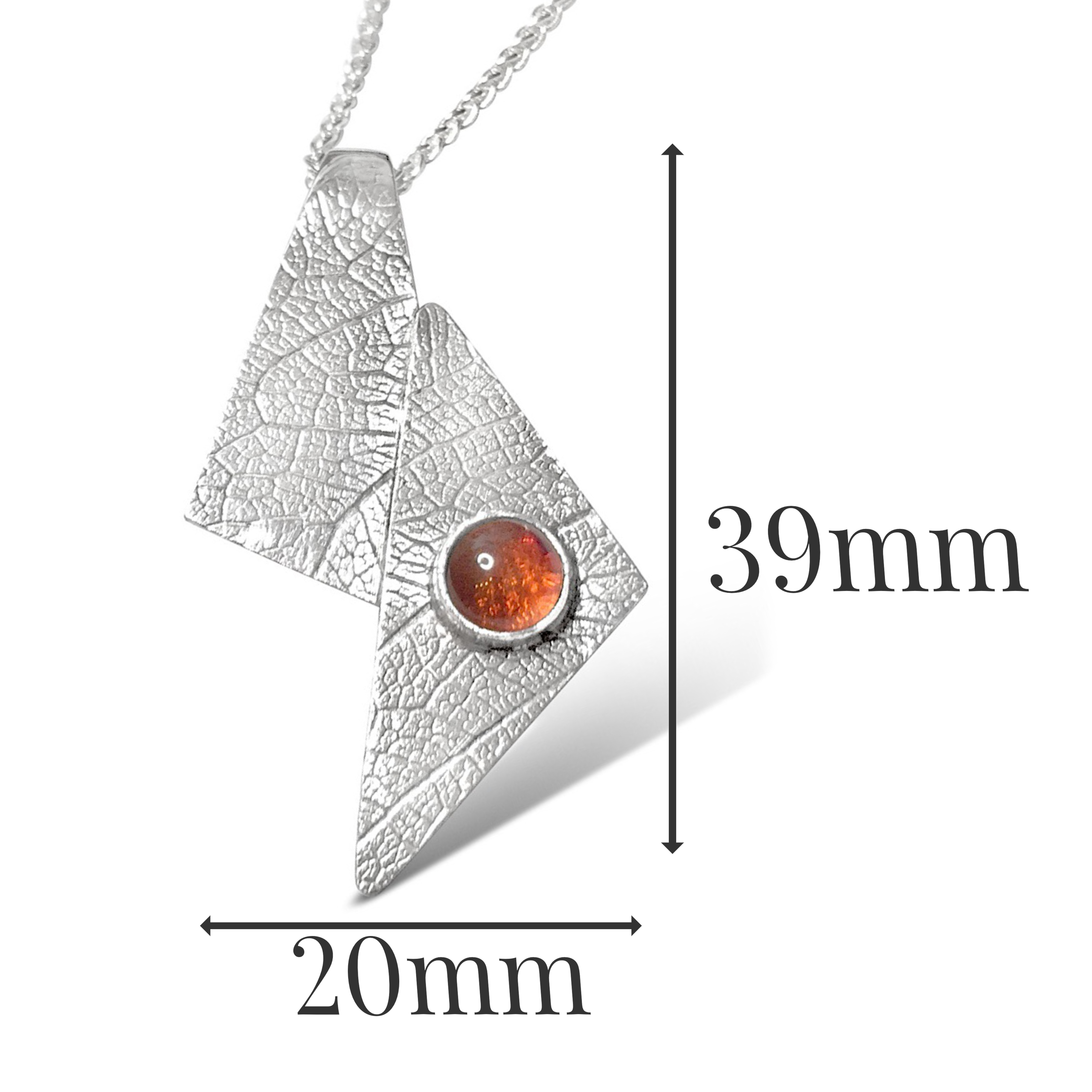 LP541 - Sterling Silver Amber Pendant sizes